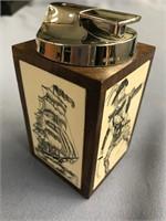 Phenomenal desk top lighter in a walnut wood box w