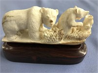 Michael Scott fossilized ivory relief carving, bea