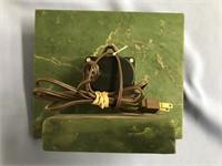 Beautiful electric Alaskan jade clock with onyx an