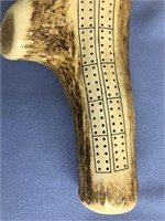 Cribbage board made from simulated antler  about 1