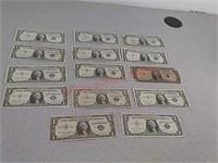 14 $1 silver certificates, 1957, 1 1935
