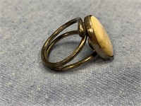 Silver tone ring with fossilized ivory insert, siz