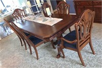 "Table and 6 Chairs with 2 Leaves Overall 93""x43""x"""
