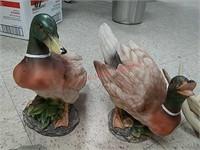 2 decor mallard ducks, duck wind chime, antlers