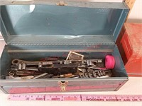 2 metal tool boxes with contents. assorted tools