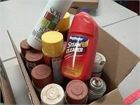 garage chemicals, spray paint ,drain cleaner