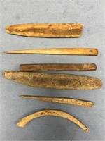 Lot of 6 fossilized ivory and bone artifacts