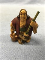 Outrageous fossilized ivory netsuke with beautiful