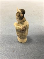 Japanese ivory carving of a Japanese woman, about