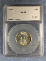 1920 Standing Liberty quarter graded MS63 by SEGS