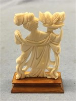 Beautiful ivory carving of a Japanese woman on woo