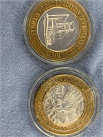 Lot of 2 $10 gaming tokens from Nevada