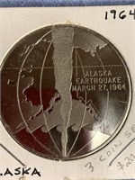 Silver coin commemorating 1964 great Alaska earthq