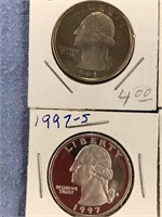 Lot of 4-American coins, 1997 S silver proof quart