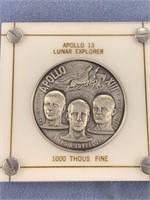 Apollo 13 Lunar explorer silver coin 1000 grains o