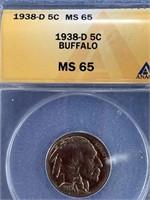 1938 D buffalo nickel graded MS65 Anacs