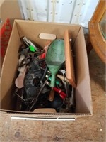 Box w/miscellaneous, knife, brass horn, picture fr