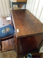 Vintage wood desk w/chair, desk has 9 drawers and