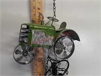 Metal green tractor wind chime