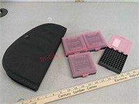 4 plastic ammo boxes 22LR & pistol / handgun case
