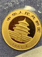 2001 Chinese gold panda   1.5 grams    (33)