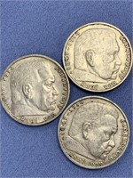 Lot of 3 Nazi coins:  1935, 1936, 1938 Paul Von