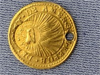 1848 1/2 Escudo from Costa Rica, has been holed,