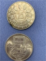 Lot of 4 silver coins Portugal, Philippines,