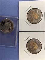 Lot of 3 Alaska State quarters with gold plating