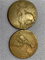 Lot of 2 old British coins, George II 1730s (date