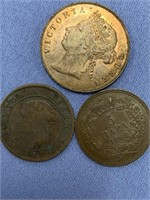 Lot of 3 old foreign coins, 1888 Mauritius, 1868