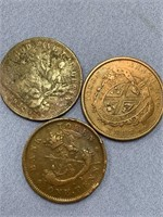 Lot of 3 old coins, 1857 Bank of upper Canada,