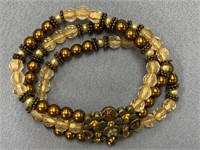 3 Stranded faux pearl and glass bead stretch