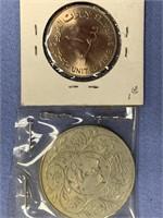 Lot of 5 coins including 1909 Barber quarter,