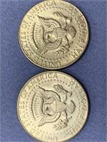 Lot of 2 Kennedy half dollars 1966, 1968 D     (M