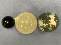 """Lot of 3 stone spheres, largest is about 1.75"""""""