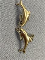 Pair of sterling silver earrings in shape of
