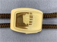 Interesting layered fossilized ivory bolo tie