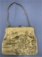 Lovely vintage leather clutch purse with tiny
