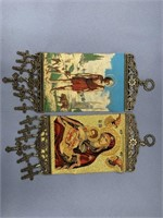Lot of 2 small embroidered Religious wall hangers