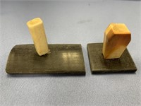 Pair of 2 fossilized ivory pen holders on baleen