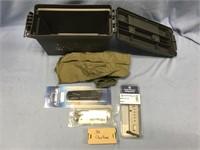 Lot of 2, box of paper targets, plastic ammunition