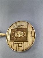 Phenomenal sterling silver pendant of Native Ameri