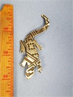 Sterling silver lapel pin in the shape of a gecko