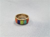 Heavy sterling silver ring with multi-colored ston