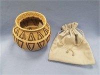 Phenomenal hand made basket made from black palm f