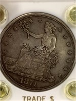 1874 S American silver trade dollar in hard plasti