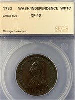1783 Washington Independence coin, large bust type