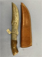 Fabulous hunting knife with rain drop Damascus pat
