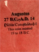 Silver Roman coin from reign of Cesar Augustus, 19
